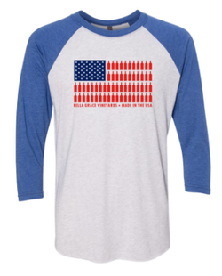 Baseball 3/4 Length USA Bottle Flag Shirt Blue Sleeves