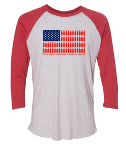 Baseball 3/4 Length USA Bottle Flag Shirt Red Sleeves