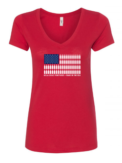 Ladies USA Bottle Flag V-Neck - Red