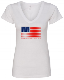 Ladies USA Bottle Flag V-Neck - White Shirt