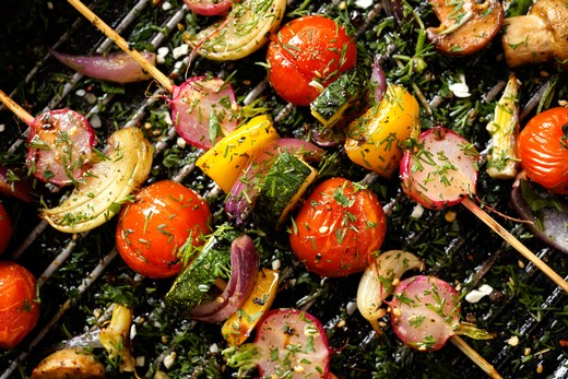 Grilled Veggie Skewers with Tuscan Blend Olive Oil